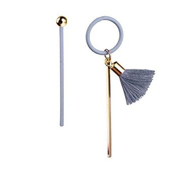 BodyJ4You Asymmetric Drop Earrings Women Goldtone Dangle Gray Tassel Mismatched Ear Piercing