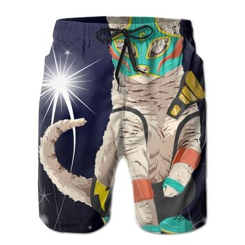 Painting Warrior Cat Mens Fashion Casual Beach Shorts