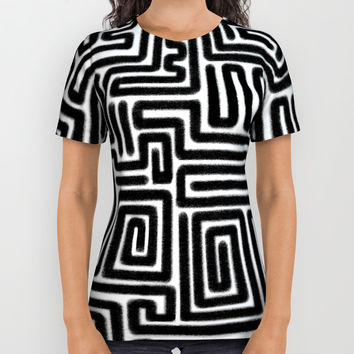 Tribal Maze Pattern (Minimal) All Over Print Shirt by AEJ Design