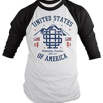 Shirts By Sarah Men's Vintage United States T-Shirt Patriotic America 4th July Shirt 3/4 Sleeve Raglan