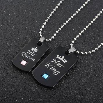 Her King & His Queen Couple Necklaces lovers pendant fashion crystal jewelry for women and men gifts