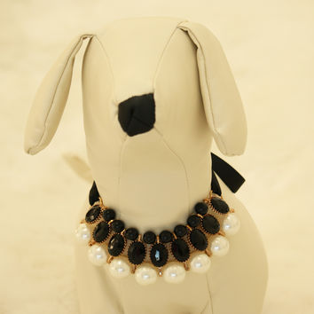 Black Pearl and Rhinestone Dog jewelry- Pet accessories, Pearl Necklace, Dog beaded Necklace