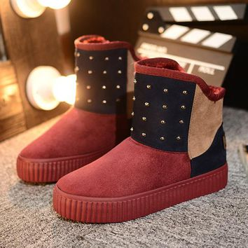 Hot Deal On Sale Winter Patchwork Thick Crust Boots [79791685657]