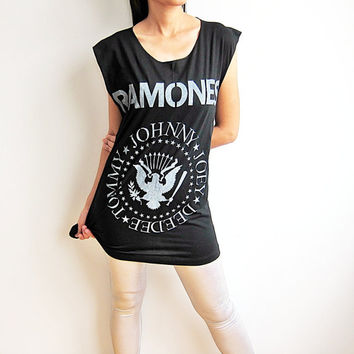 RAMONES T Shirt Johnny Joey ramones Garage Band Punk Rock TShirt Tank Top Women Sleeveless T-Shirts Vest Size M