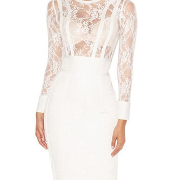 White Ada Lace Long Sleeve Bandage Dress