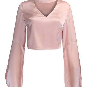 Pink V-neck Choker Detail Flare Sleeve Crop Top