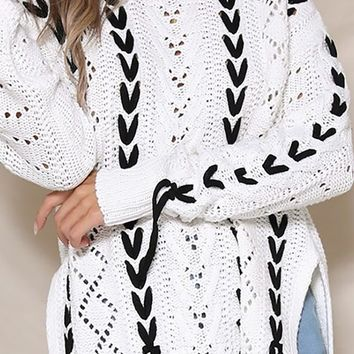 Sled With Me Long Sleeve Crew Neck Pointelle Lace Up Pattern Pullover Sweater - 2 Colors Available