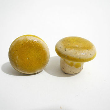Dresser Knobs, Cabinet Door Knobs, Small Round Pull Handles Handmade Ceramics in Mustard Yellow