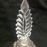 Vintage Cut Crystal Glass Stylized Feather Top Faceted Perfume Bottle