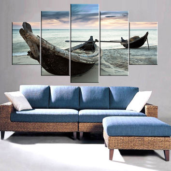 Drop-shipping Modern Canvas Prints Sea Boat Painting Sunset Seascape Cuadros Oil Wall Pictures for Living Room No Frame 5 Panel