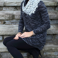Delicate Daisy Top Charcoal