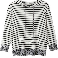 LE3NO Womens 3/4 Sleeve Loose Striped Shirt with Hoodie