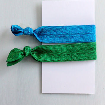 Hair Ties, 2 Pack Ponytail Holders, Blue and Green