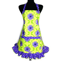 Retro Kitchen Apron for Women , Purple flowers on Green with Polka Dot Ruffle