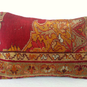 Hand Woven Turkish Old Rug Pillow - Modern Bohemian Home Decor - Decorative Pillow - Kilim  Pillow  20 x 17 Inch - FAST SHIPMENT