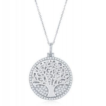 Tree of Life Necklace, Micropave Clear CZ