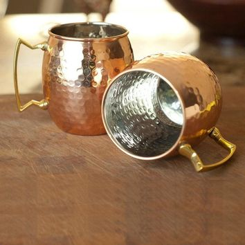 2Pcs/Lot Moscow Mule Copper Mugs Cocktail Mugs Quality Stainless Steel Lining Beer Barrel Mugs