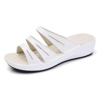 Candy Color Leather Slip On Beach Flat Platform Sandals For Women