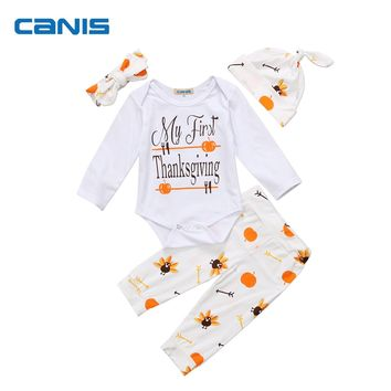 4PCS Baby Girls Boys My First Thanksgiving Romper Tops Pumpkin Print Pants Leggings Hat Headwear Outfits Clothes