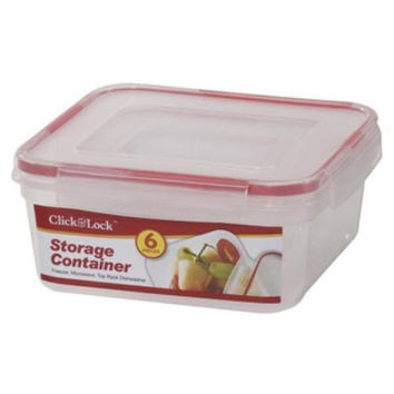 6-Pc Square Plastic Container W/Click & Lock Lid