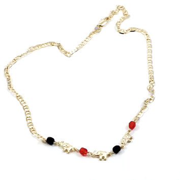 Red and Black Elephant Mariner Necklace 18kts Gold Plated Chain