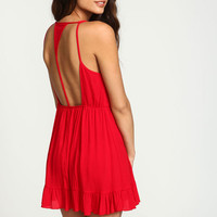 RED TIERED CREPE T STRAP DRESS