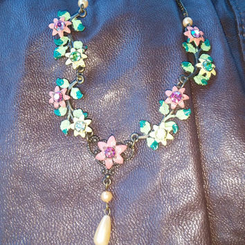 Multi Colored Crystal/Enamel Flower Necklace with Antique Gold Tone Chain