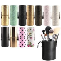 2018  Travel Leather Makeup Brush Pen Storage Empty Holder Cosmetic Cup Case