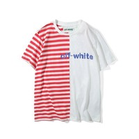 qiyif Off-White Striped Panelled Letter T-Shirt