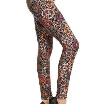 Women's Mosaic Leggings Quilted Print Multi-Colored: OS/PLUS