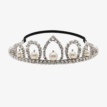metallic crystal and pearl tiara