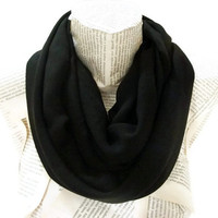 Black Infinity Scarf, Chiffon Lightweight Soft,Tube Scarf, Black Women Accessories, Fshion Scarves