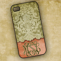iPhone 4 case 4s cover - personalized pink and green lace iPhone 4 cover, monogram cell phone case (9619)