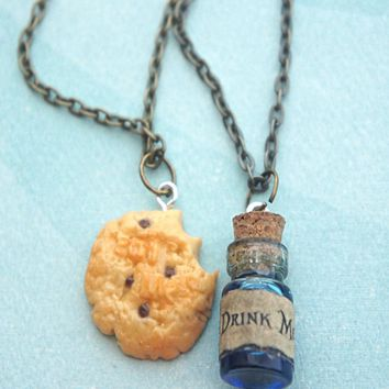 Alice in Wonderland Inspired Friendship Necklace Set- Eat me and Drink me Necklace
