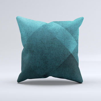 Vinatge Blue Overlapping Cubes Ink-Fuzed Decorative Throw Pillow