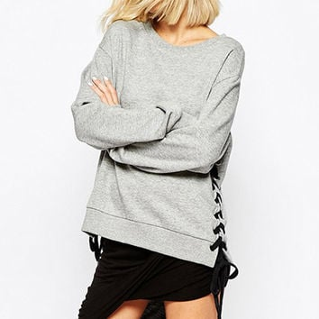 RYAN Lace-Up Sides Sweater - Grey