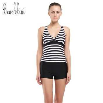 2017 Women Yoga Tankini Set Stripes Lined Up Double Up Swimwear Boyshorts Swimsuit Girls Two Pieces Sport Bathing Suit