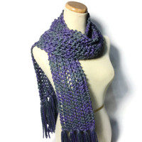 Purple and Gray Hand Knit Scarf Lacy