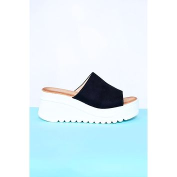 Kensington Faux Suede Platform Sandals - Black