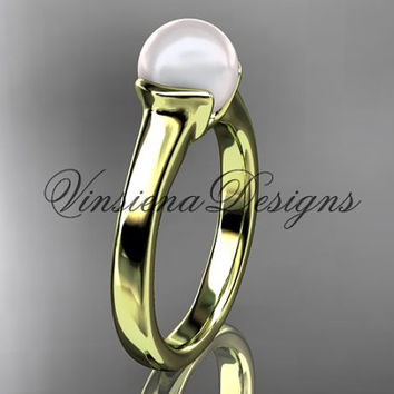 14kt yellow gold pearl engagement ring VP10016