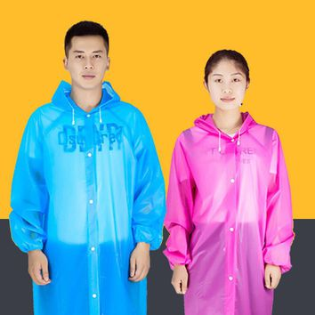 Transparent Raincoat Women Men Portable Outdoor Travel Rainwear Waterproof Disposable Camping Hooded Ponchos Plastic Rain Cover