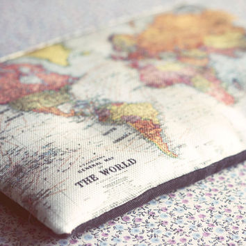 World map Small zipper pouch coin purse. Map cosmetic purse. Vintage world map fabric in blue.
