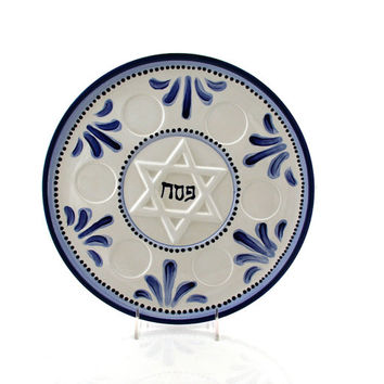 Passover,  Seder Plate, Ceramic, Judaica Passover tabletop, Star of David blue delft, spring celebrations