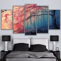 Cherry Blossoms Forest Trees Canvas