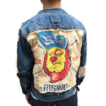 Japanese street tide brand Original designer Appliques cloth Lion Pattern for Men denim jacket coat Hip Hop Punk youth Outerwear