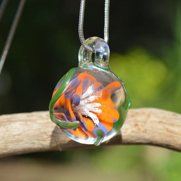 Hand Blown Glass Pendant - Purple & Orange Compression Flower with Vine