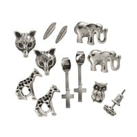 Mudd Owl, Fox, Elephant, Giraffe, Leaf, Spike & Cross Front-Back & Stud Earring Set