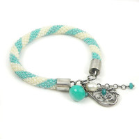 Beads crochet rope bracelet with sterling silver and turquoise chalcedony , wire wrapped