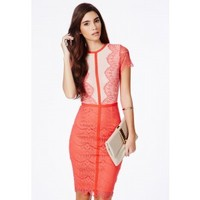 Missguided - Satsuko Lace Panel Midi Dress In Coral
