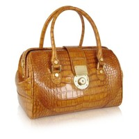 L.A.P.A. Designer Handbags Camel Croco Stamped Leather Doctor Bag